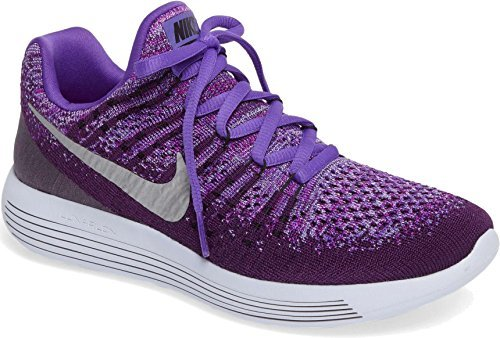 Nike Kids LunarEpic Low FlyKnit 2 GS Running Shoes (5 Big Kid M, Night Purple/ Metallic Silver)
