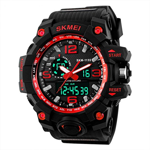 Addic Analogue-Digital Multifunctional Outdoor Sports Dual Time Red Dial Men's & Boy's Watch