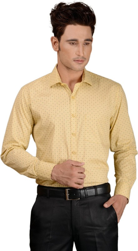 Zeal Men's Printed Formal Beige Shirt