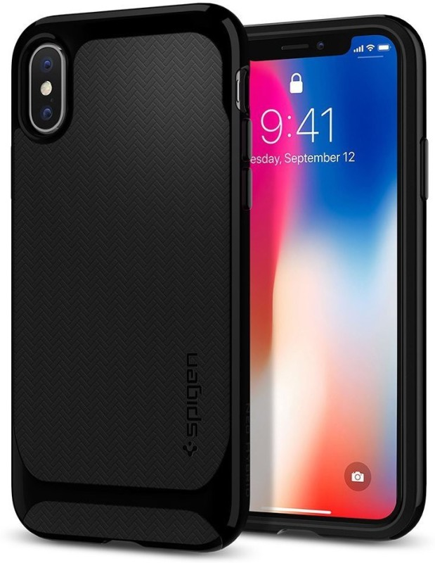 Spigen Back Cover for Apple iPhone X (2017)(Shiny Black, Plastic)