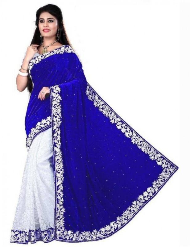 JK Creation Plain, Embellished Fashion Velvet Saree(Dark Blue)