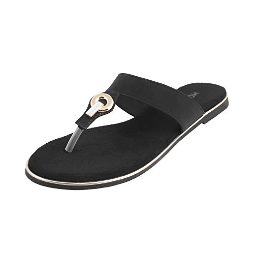 Mochi Women Black Synthetic Sandals