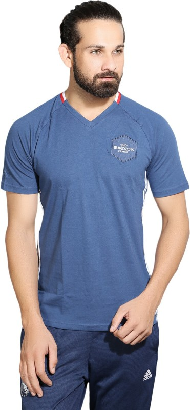 Adidas Solid Men V-neck Dark Blue T-Shirt