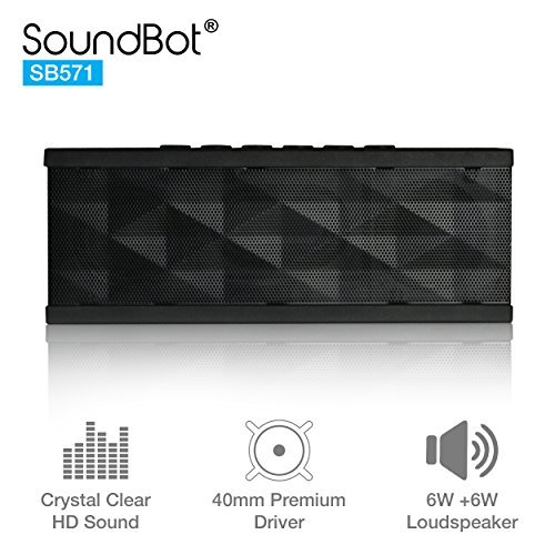 soundbot sb571 bluetooth speaker 12w output hd bass 40mm dual driver portable -