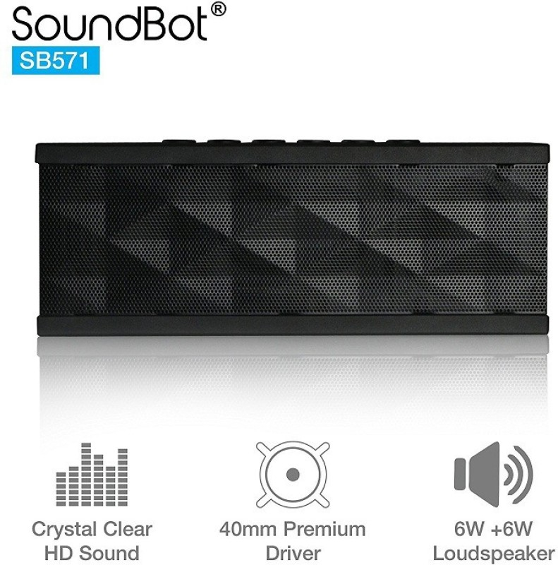 soundbot sb571 bluetooth wireless speaker 12w output hd bass portable speaker -