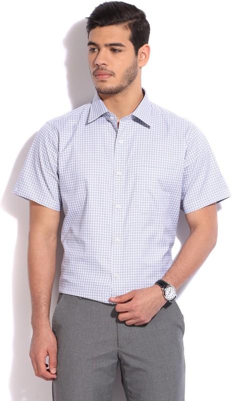 raymond mens checkered formal white blue shirt -