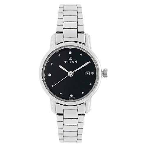 titan black dial analog with date 2572sm02 -