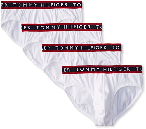 Tommy Hilfiger Men's 4-Pack Cotton Stretch Brief, White, X-Large
