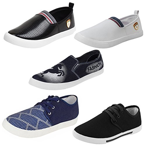 Earton Men Combo Pack of 5 Pair Casual Shoes Loafers with Sneakers (8 UK, Multi)