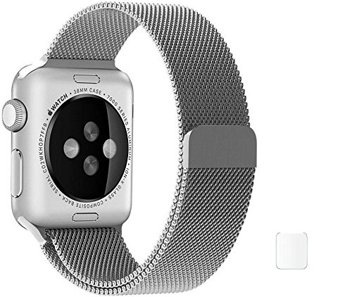 J Replacement Milanese Loop Stainless Steel Watch Band Strap Magnetic Lock Bracelet for Apple Watch iWatch 38mm – Silver