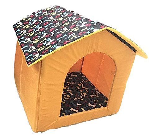 Dog Lovers Designer Printer Foldable Velvet Fabric Pet House Small Color & Design May Vary