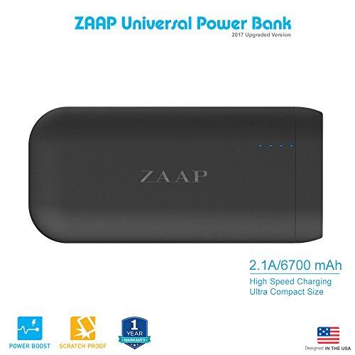 ZAAP® (USA) 6700mAh Ultra Compact, Highest-Quality {Panasonic Cells} Fast charging 2.1A CES {Award Winner Tech.} Universal Compatibility Premium Design Smart Features