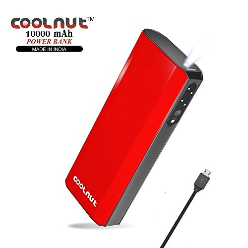 COOLNUT Premium Power Bank 10000mAh With Micro USB Charging Cable(Red)