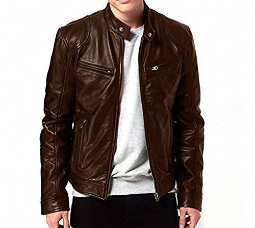 Pomo-Z Men's Slim Fit Zipper Bomber Design Faux Leather Jackets (Brown, M)