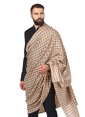 Pashtush Mens Woven Check Design Shawl, Extra-Fine Australian Merino Wool. Light Weight, Soft Pashmina, Cashmere Handfeel