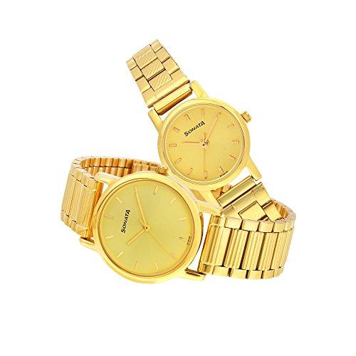Sonata Golden Dial Couple Watch