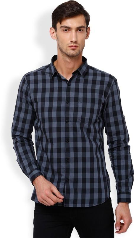 Highlander Men's Checkered Casual Black, Grey Shirt