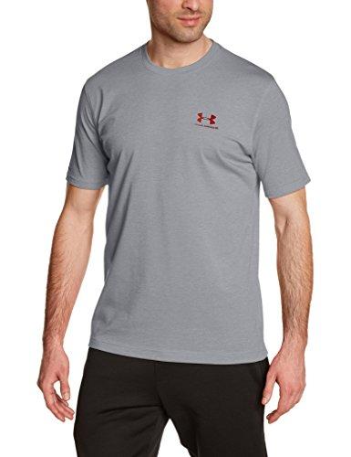 Under Armour Charged Cotton Left chest lockup Men's Round Neck Cotton T-Shirt (888376043834_1257616-025_Medium_True Gray Heather/Red)