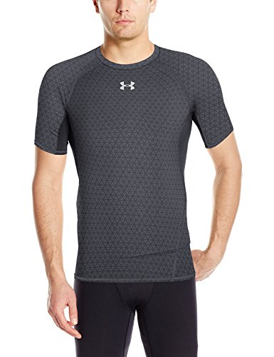 Under Armour Heat Gear Armour Printed Short Sleeve Men's Round Neck T-Shirt (190085173857_1257477-007_Large_Black/Black)