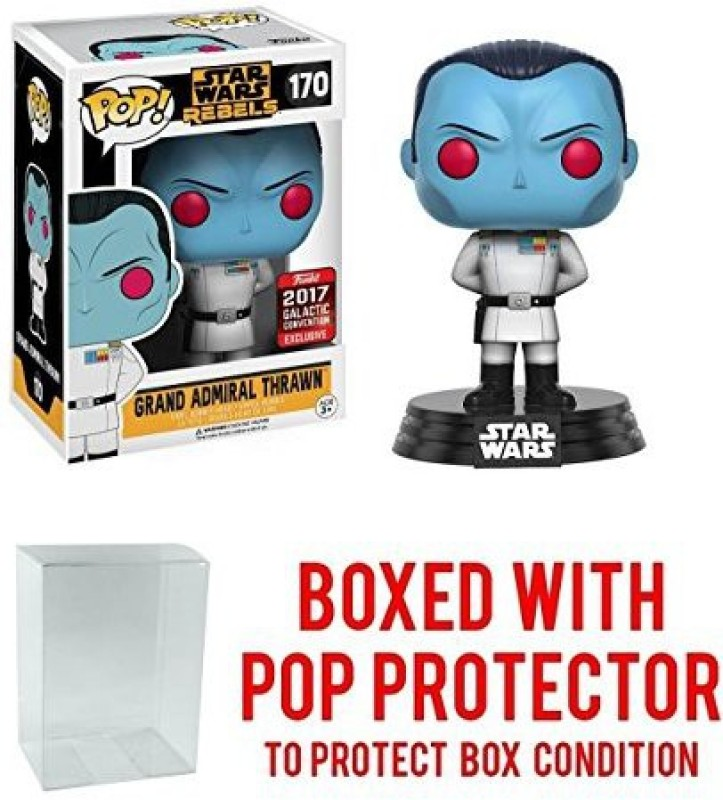 Pop Protector Funko Pop! Star Wars – Grand Admiral Thrawn 2017 Star Wars Galactic Convention Exclusive Vinyl Figure (Bundled With Pop Box Prot(Multicolor)