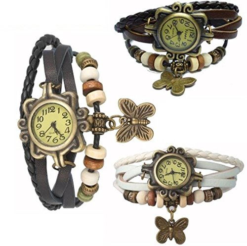 DV ENTERPRISE BUTTERFLY DORI BLACK WHITE AND BROWN ANALOG WATCH FOR GIRLS OR WOMENS