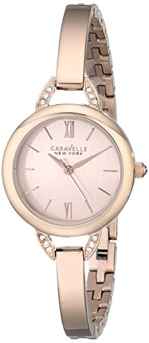 caravelle new york crystal analog gold dial womens watch 44l133 -