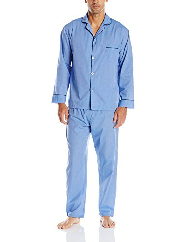 Hanes Men's Broadcloth Pajama Set, Blue, Medium