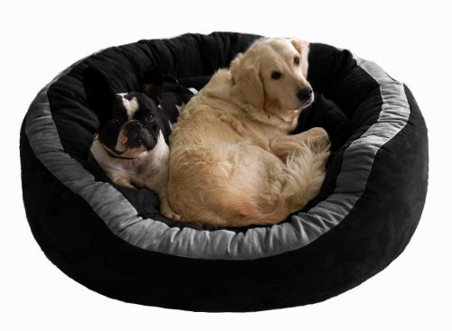 Petitude Reversable Dual(Black-Gray)color Ultra Soft Ethenic Designer Velvet Bed For Dog & Cat(Export Quality)-Large