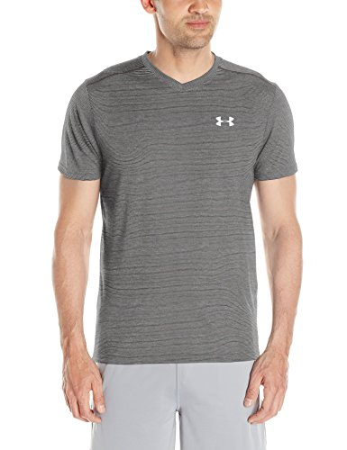 Under Armour Threadborne Streaker V neck Men's V-Neck T-Shirt (1283380-090_X-Large_Carbon Heather/Carbon Heather)