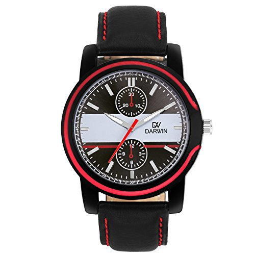 DARWIN MENS WATCH BLACK & RED   CHRONOGRAPH LOOK   CASUAL OR DAILY WEAR   TRENDY   STYLISH   IMPORTED JAPANESE MOVEMENT   HIGH FASHION   DW-1010