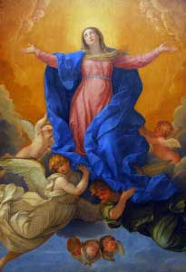 Painting of Our Lady being taken up to heaven by the angels.