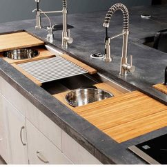 Large Kitchen Sinks Cost For Cabinets The 7 Galley Outdoor Workstation Affordable Kitchens Iws Stainless Steel Sink Natural