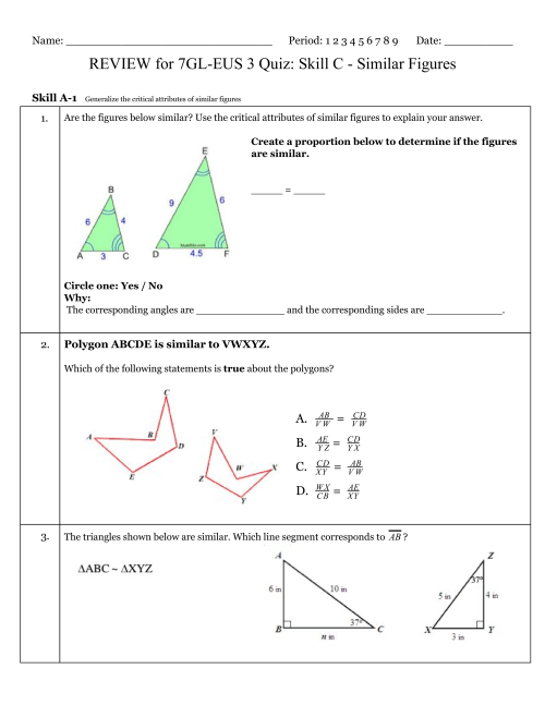 small resolution of Geometry Similar Figures Worksheet   Printable Worksheets and Activities  for Teachers