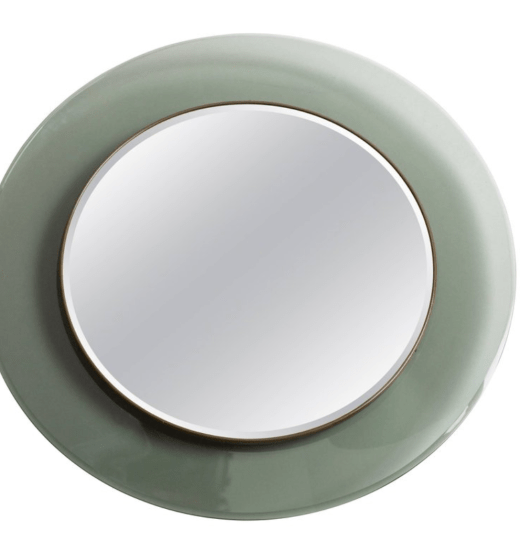 A light green wall mirror for Fontana Arte