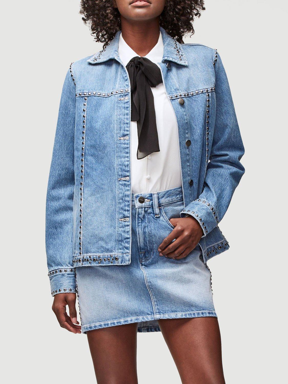 FRAME Le Studded Motif Jacket in Jenning