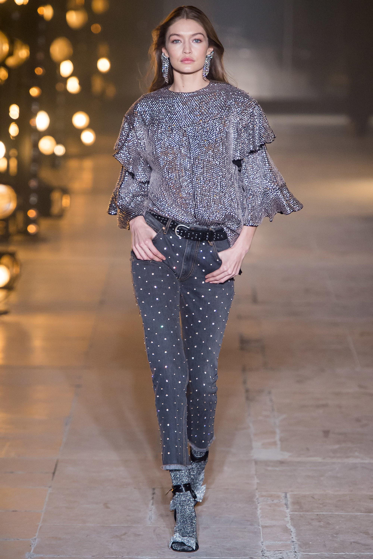 Gigi Hadid, Isabel Marant, rhinestone Jeans, crystal jeans