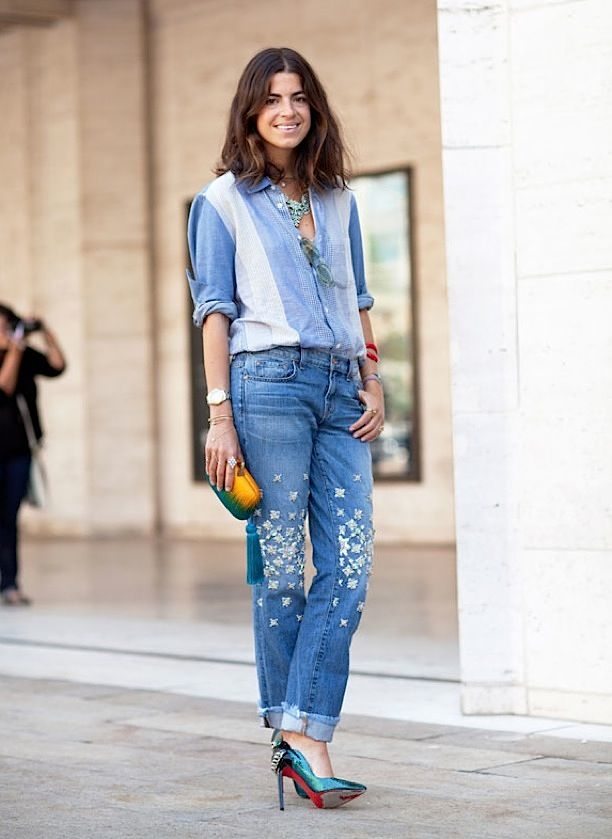 Jeans, rhinestones, crystals, man repeller, j brand, christopher kane