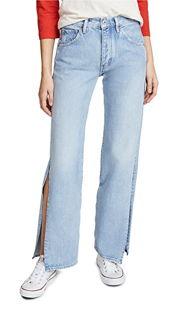 Levi's Made and Crafted x SHOPBOP Split Arrow Wide Leg in Ocean Blue