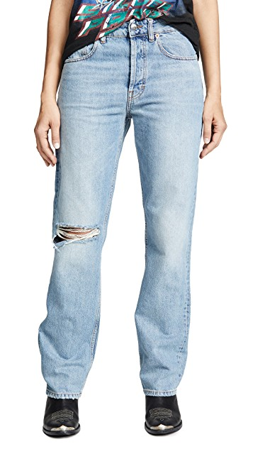 Made in Italy. IRO.JEANS Lady Wide Leg Jeans in Light Denim. 5 Pocket full length button fly.