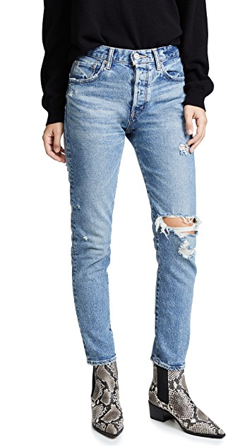 Moussy Vintage Isabel High Rise Tapered Skinny Jeans in Blue. Ankle length, skinny silhouette, button fly, leather back tag jeans.