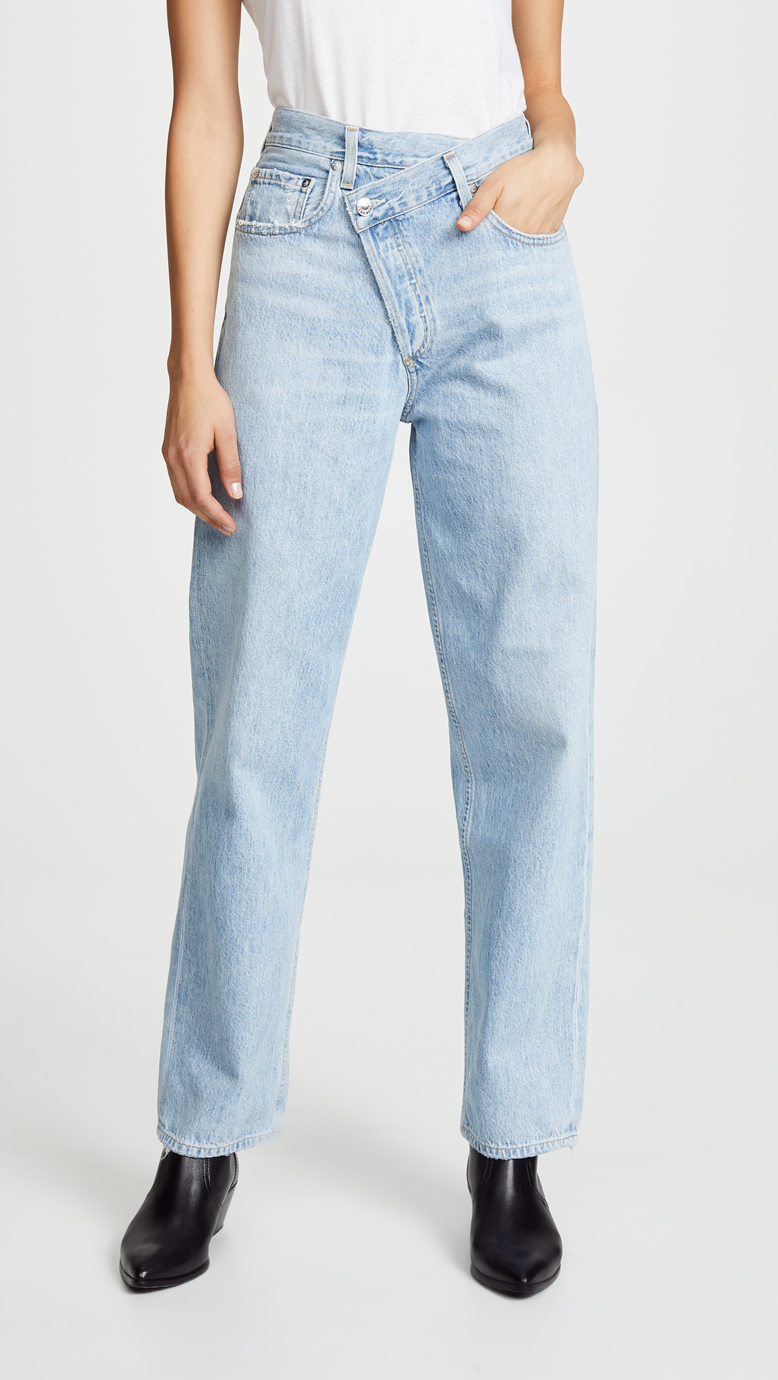 criss cross, crossover jeans, wrap jeans, boyfriend jeans, slouchy, a gold e
