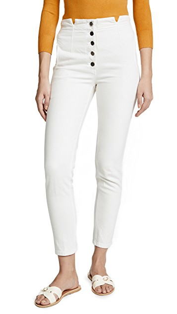 Rachel Comes Dock Pants in Dirty White . White denim, trouser styling, button fly, slant from pockets, made in the USA