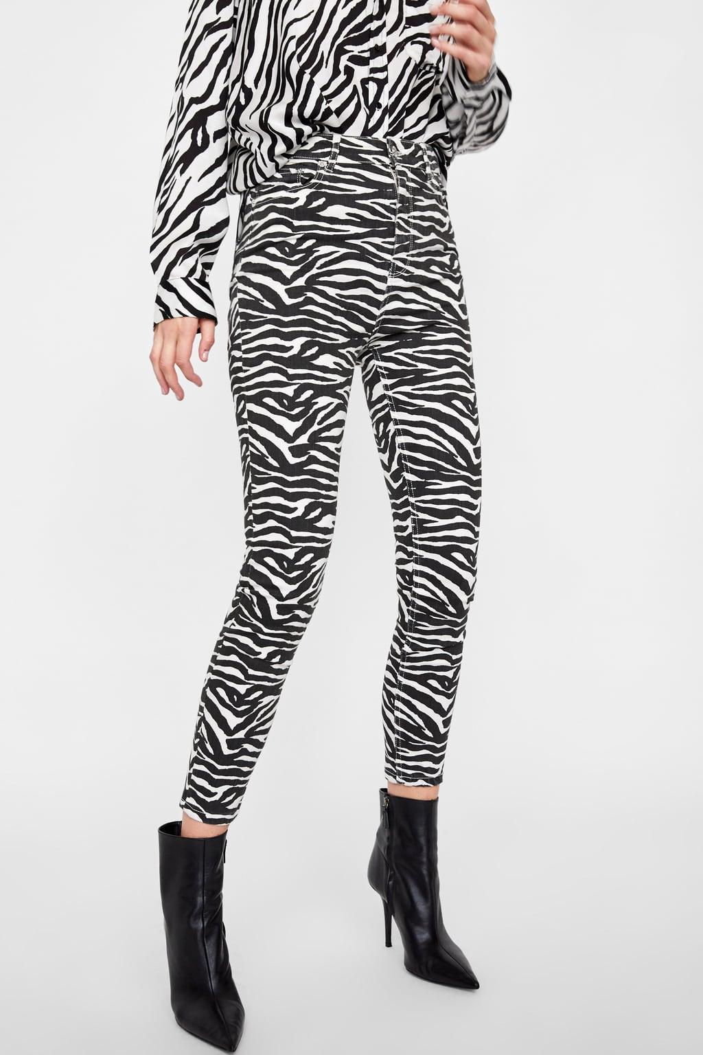 zara, high rise jeans, skinny jeans, animal print denim, zebra print jeans