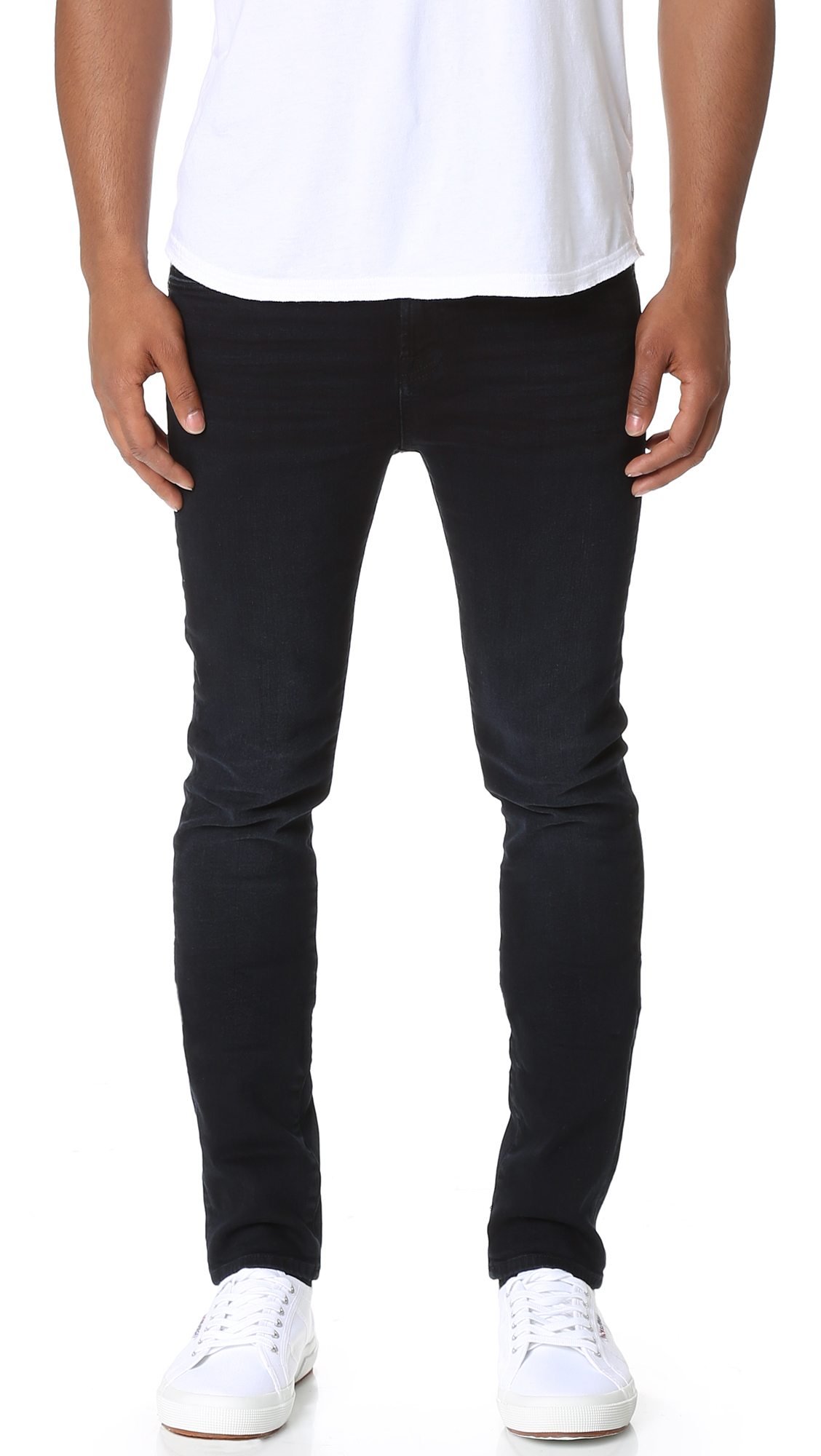 7 for all mankind, men's stretch jeans, skinny jeans, faded black denim, tapered jeans