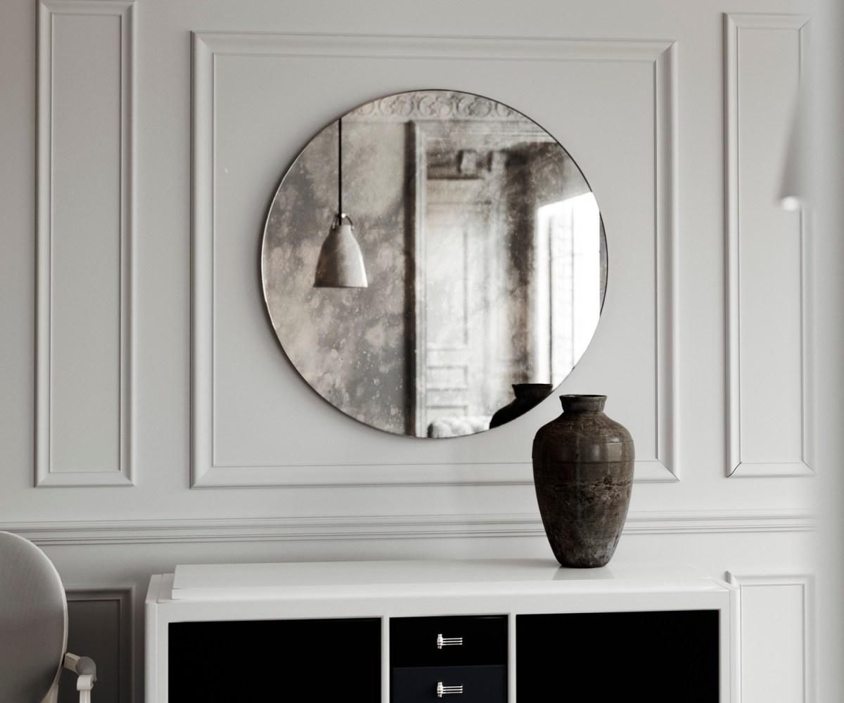minimal mirror, round mirror