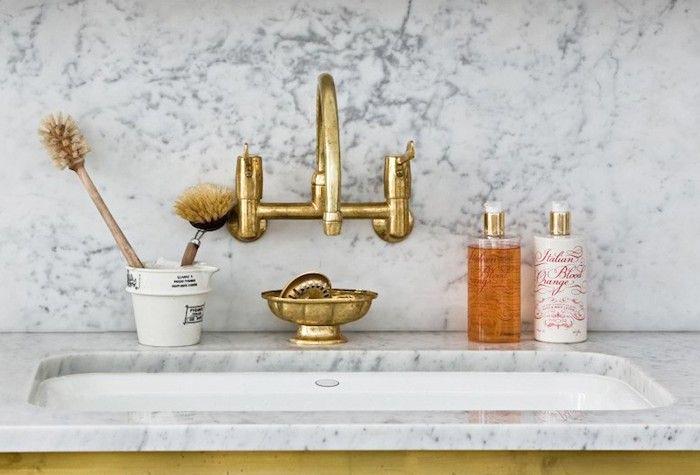 brass faucet, brass, sink