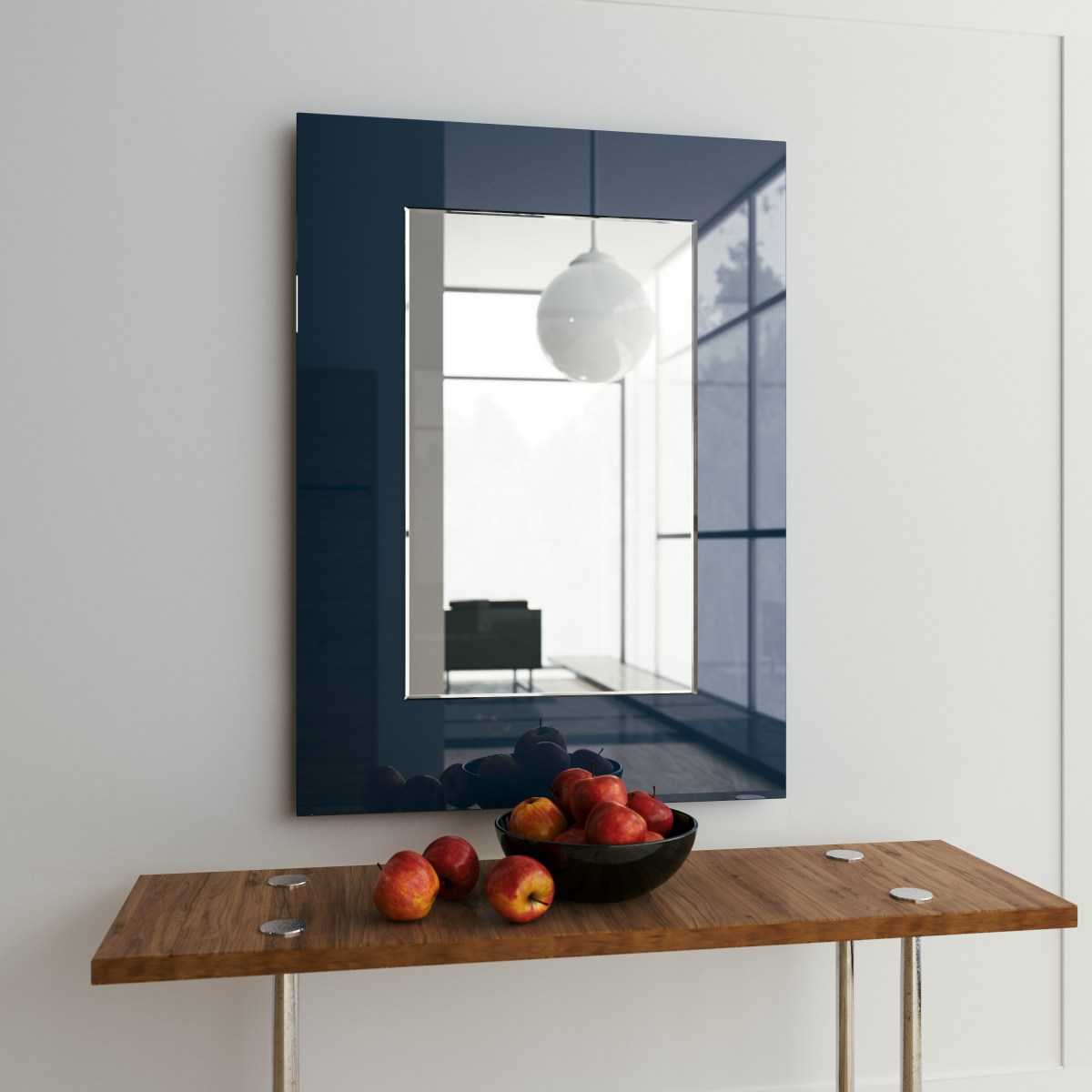 blue mirror, square mirror, blue cool mirror