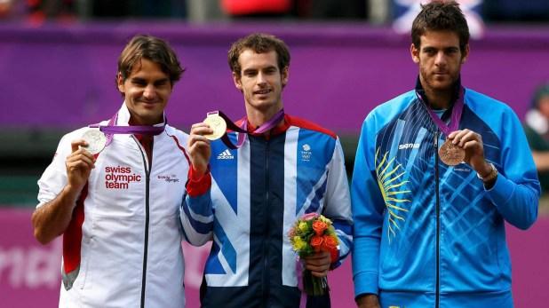 Los tres medallistas del cuadro masculino de single del tenisen Londres 2012: Andy Murray, Roger Federer y Juan Martín Del Potro