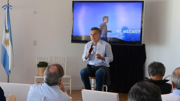 "Mauricio Macri habla durante un ""retiro espiritual"" anterior del Gobierno (Presidencia)"