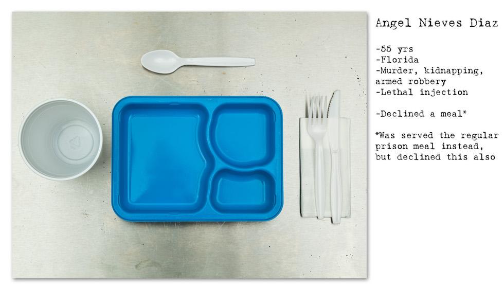 Angel Nieves Diaz: 55 años; Florida; asesinato, secuestro, robo; inyección letal. Rechazó la comida especial, se le ofreció la de la cárcel, pero rechazó también esa. (No Seconds – Henry Hargreaves)